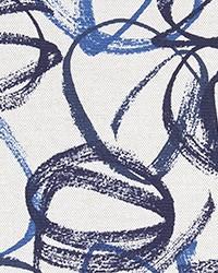 Blue Abstract Fabric  Vibrato Vivid Flax