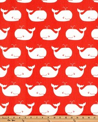 Premier Prints Whale Tales Coral WhiteTwill Fabric