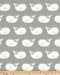 Grey Marine Life Fabric  Whale Tales Storm WhiteTwill