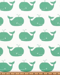 Green Marine Life Fabric  Whale Tales White Canal Twill