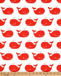 Orange Marine Life Fabric  Whale Tales White Coral Twill