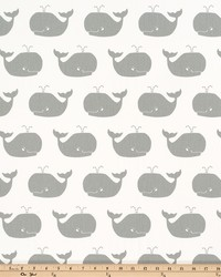Grey Marine Life Fabric  Whale Tales White Storm Twill