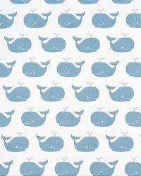 White Marine Life Fabric  Whale Tales White Weathered Blue Twill