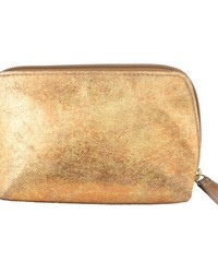 Small Distressed Leather Cosmetic Bag  Copper Sand by