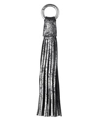 Distressed Leather Tassel  Silver Black by