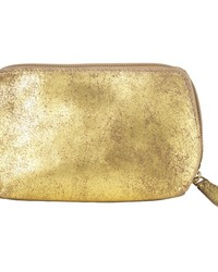 Small Distressed Leather Cosmetic Bag  Gold Beige by