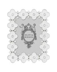 White Enamel Clover 2.5in x 3.5in Frame White by