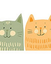 Multicolor Cats Wall Decals by