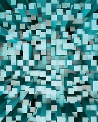 Blue 3D Pixels Wall Mural by