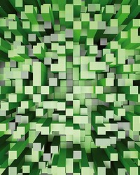 Green 3D Pixels Wall Mural by