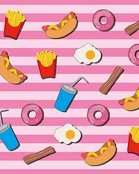 Fast Food Kitchen Pink Wall Mural by