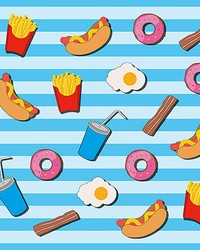 Fast Food Kitchen Blue Wall Mural by