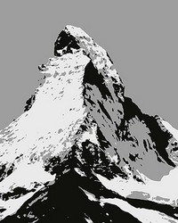 Matterhorn Illustration Black And White Wall Mural by