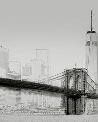 New York Art Illustration Black And White Wall Mural by