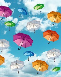 Multicolored Umbrellas in the Sky Wall Mural by
