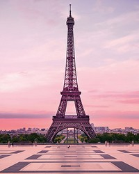 Eiffel Tower At Sunset Wall Mural by