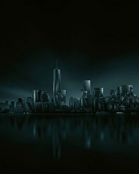 Dark New York Skyline Wall Mural by