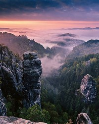 Sunrise On The Rocks Wall Mural by