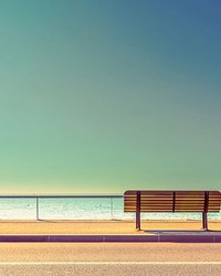 Bench And Sea Wall Mural by