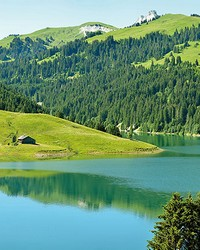 Swiss Mountain Lake Launensee Gstaad Wall Mural by