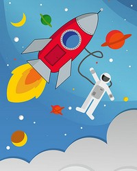 Rocket Man Wall Mural by