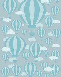 Blue Air Balloons Wall Mural by