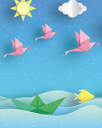 Origami Landscape Wall Mural by