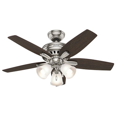 hunter fan Newsome Collection - 42in Brushed Nickel Three Light Kit 51085 FAN Newsome 42in Brushed Nickel Three Light Kit