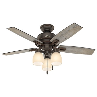 hunter fan Donegan Collection - 44in Onyx Bengal Three Light Light Kit 52228 FAN Donegan 44in Onyx Bengal Three Light Light Kit