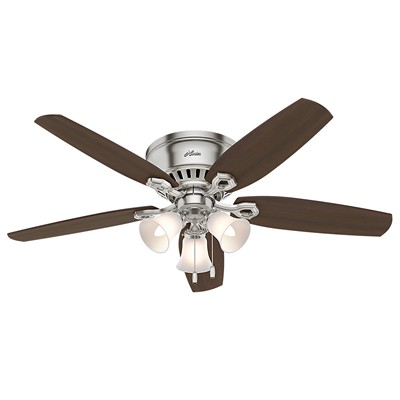 hunter fan Builder Low Profile - 52in Brushed Nickel Three Light 53328 FAN Builder Low Profile 52in Brushed Nickel Fan