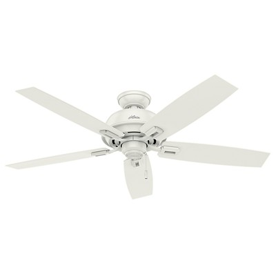 hunter fan Donegan Collection - 52in Fresh White No Light Kit ETL Damp 54168 FAN Donegan 52in Fresh White Damp Rated Fan Hunter Outdoor Ceiling Fans