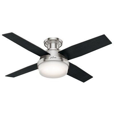 hunter fan Dempsey Collection - 44in Brushed Nickel Low Profile Integrated Light Kit 59243 FAN Dempsey 44in Brushed Nickel Low Profile Fan