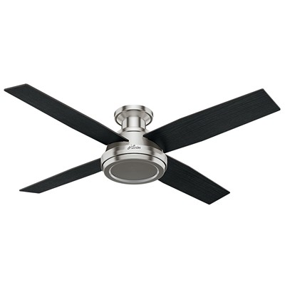 hunter fan Dempsey Collection - 52in Brushed Nickel Low Profile No Light Kit 59247 FAN Dempsey 52in Brushed Nickel Low Profile Fan