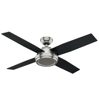 hunter fan Dempsey Collection - 52in Brushed Nickel No Light Kit 59249 FAN Hunter Custom Builder Fans Dempsey 52in Brushed Nickel Fan