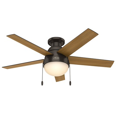 hunter fan Anslee Collection - 46in Premier Bronze Low Profile Integrated Light Kit 59268 FAN Hunter Ceiling Fans