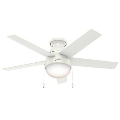 hunter fan Anslee Collection - 46in Fresh White Low Profile Integrated Light Kit 59269 FAN Anslee Fresh White 46in Low Profile Hunter Ceiling Fans white ceiling fans Anslee Fresh White 46in Low Profile Fan