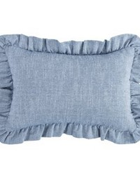 Chambray Ruffled Pillow 12x18 by
