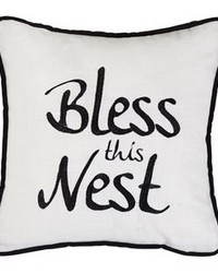 Bless This Nest Embroidered Pillow 18x18 by