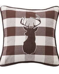 Embroidered Deer on Buffalo Linen Fabric by
