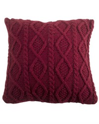 Cable Knit Pillow 18X18 Red by
