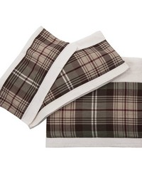 3 PC Forest Pines Plaid Towel Set 3Sizes Cream by