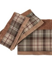 3 PC Forest Pines Plaid Towel Set 3Sizes Mocha by