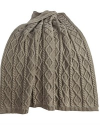 Cable Knit Throw 50x60 Green by