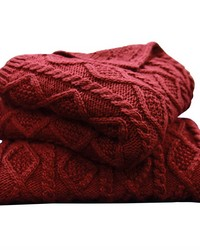Cable Knit Throw 50X60 Red by