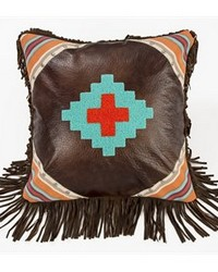 Embroidered Aztec Design in Faux Leather 18x18 by
