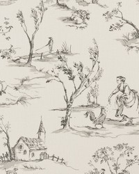 French Country Toile Fabric  Helena Charcoal