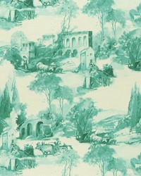 Green French Country Toile Fabric  F0997 5 TEAL