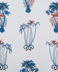 Clarke and Clarke JUNGLE PALMS F1110/01 CAC BLUE Fabric