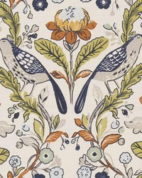 ORCHARD BIRDS F1316/01 CAC BIRDS DENIM/SPICE by