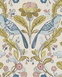 ORCHARD BIRDS F1316/05 CAC BIRDS TEAL/BLUSH by